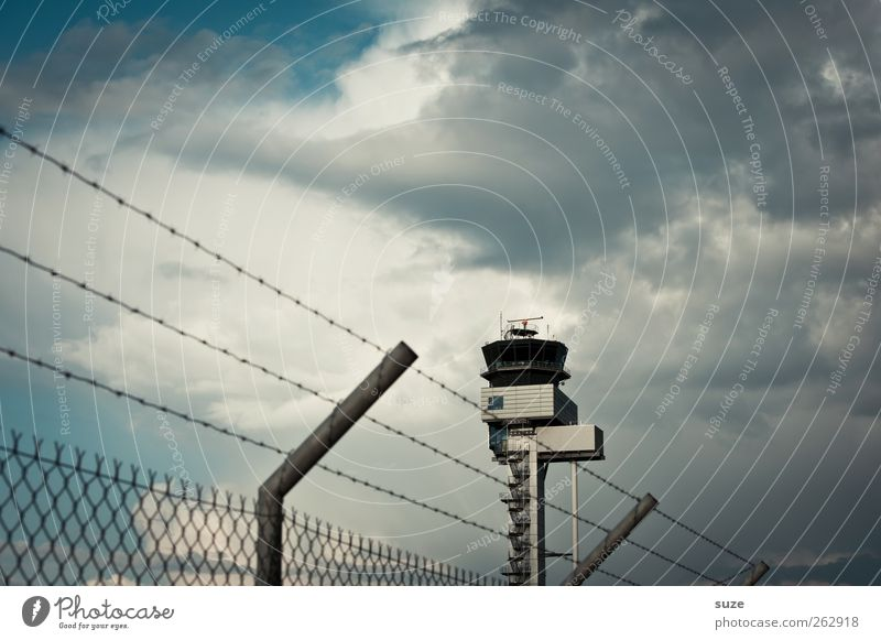 tower Aviation Environment Sky Clouds Weather Bad weather Airport Tower Air Traffic Control Tower Exceptional Blue Gray Fear of flying Testing & Control