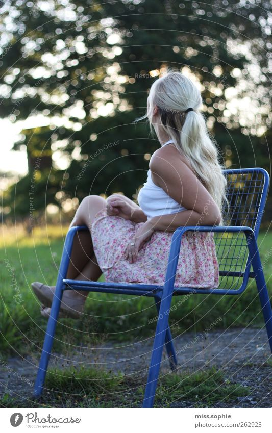 looking at stars. Hair and hairstyles Feminine Young woman Youth (Young adults) Life Body Summer Meadow Skirt Blonde To enjoy Looking Sit Wait Happy Blue Green
