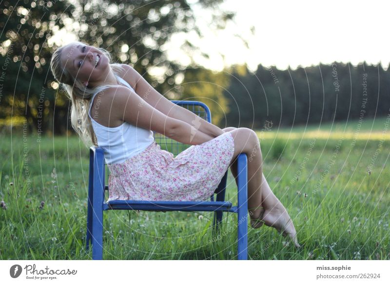connoisseur. Young woman Youth (Young adults) Body Sun Summer Beautiful weather Meadow Skirt Blonde Long-haired Relaxation To enjoy Smiling Illuminate Happiness
