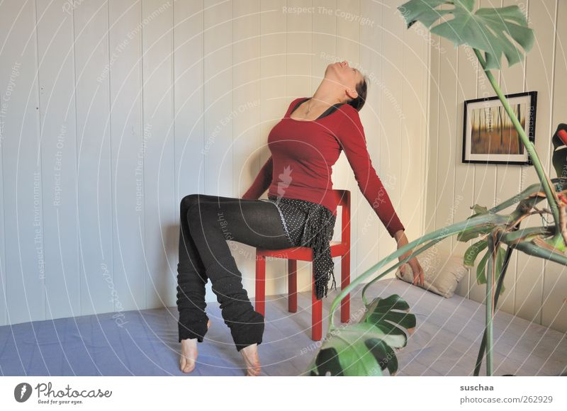 all the best from above? Feminine Woman Adults Body 1 Human being 30 - 45 years Sit Healthy Flexible Yoga Crazy Uncomfortable Above Interior shot