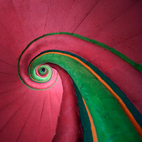 snail shell Style Interior design Architecture Staircase (Hallway) Winding staircase Line Exceptional Hip & trendy Crazy Green Esthetic Colour Infinity Round