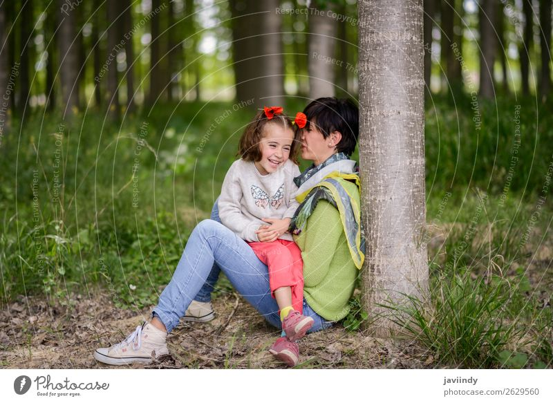 Happy mother with her little daughter in Nature Lifestyle Joy Child Human being Feminine Girl Woman Adults Mother Family & Relations Infancy 2 3 - 8 years
