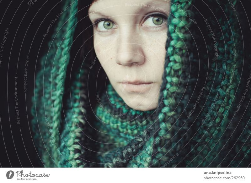 green Feminine Young woman Youth (Young adults) Woman Adults Face 1 Human being 18 - 30 years Fashion Accessory Scarf Natural Beautiful Green Emotions Moody