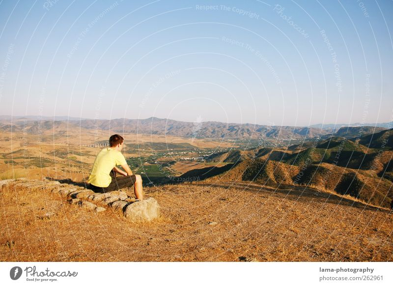 El mirador [XXX] Vacation & Travel Far-off places Freedom Hiking Young man Youth (Young adults) 1 Human being Nature Landscape Beautiful weather Hill Mountain