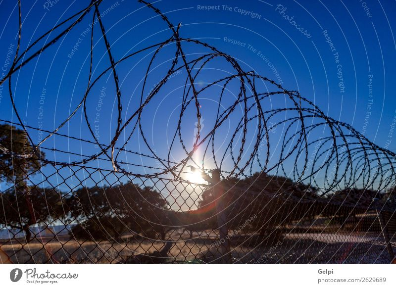 Fence with a barbed wire Freedom Camping Sky Metal Steel Rust Line Blue Black White Safety Protection Safety (feeling of) Dangerous War Penitentiary sharp