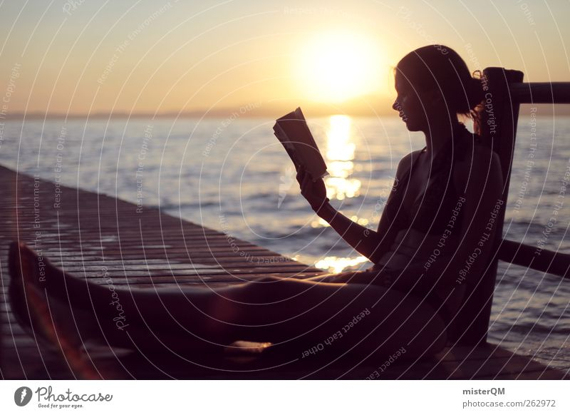Woman Youth (Young adults) Vacation & Travel Summer Loneliness Calm Relaxation Young woman Art Contentment Sit Leisure and hobbies Book Esthetic Reading Bay