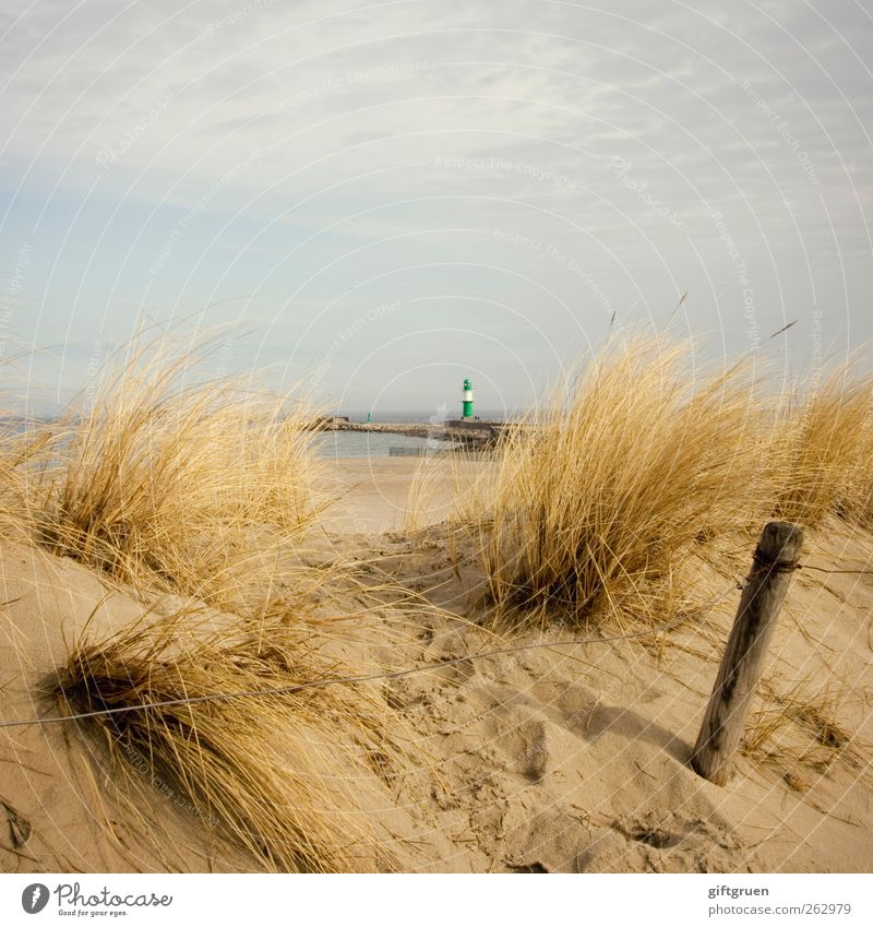 otherwise quite large Environment Nature Landscape Plant Elements Sand Water Sky Clouds Summer Grass Coast Beach Baltic Sea Ocean Large Small Lighthouse Tower