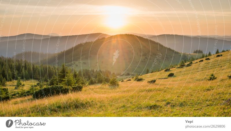 Panorama of sunset in the mountains Beautiful Vacation & Travel Tourism Adventure Far-off places Freedom Summer Sun Mountain Hiking Environment Nature Landscape
