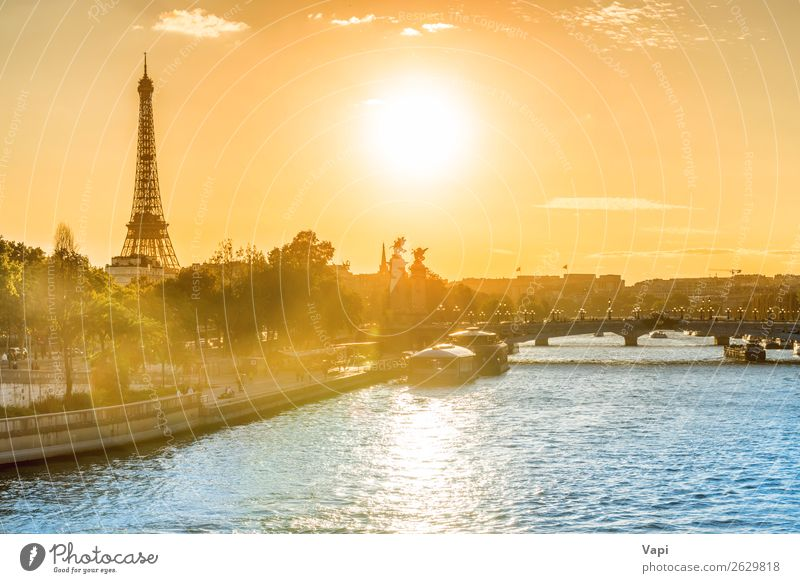 Beautiful sunset with Eiffel Tower Sky Vacation & Travel Summer Blue Town Green Landscape White Red Sun Tree Clouds Black Street Architecture