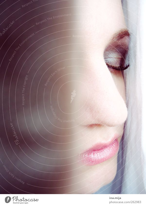 Profile of a woman with closed eye Feminine Young woman Youth (Young adults) Woman Adults Face Eyes Nose Mouth Relaxation To enjoy Sleep Dream Esthetic