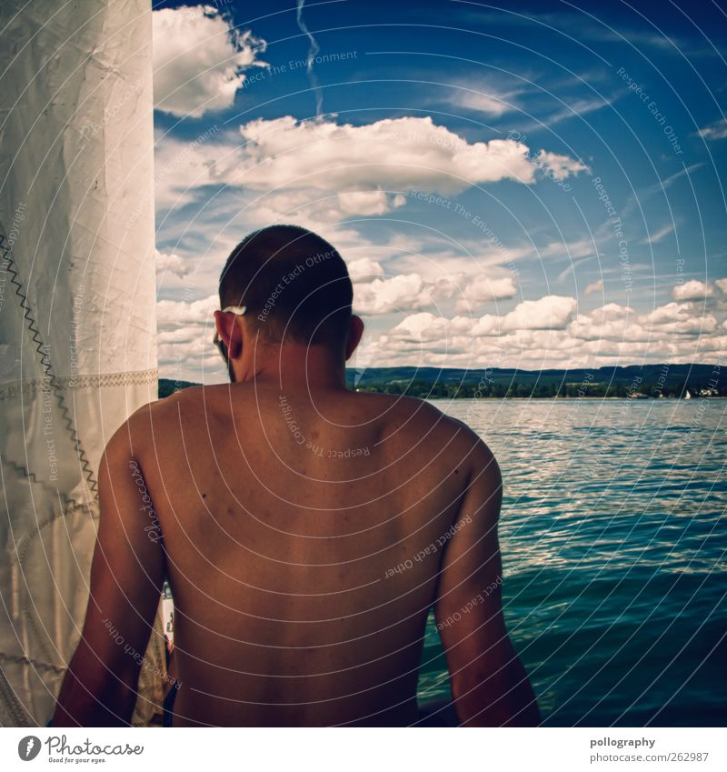 Human being Sky Man Nature Youth (Young adults) Water Tree Vacation & Travel Summer Clouds Adults Relaxation Landscape Life Lake Waves