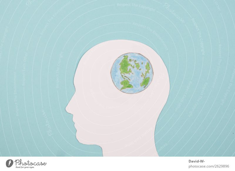Head wondering about the world earth Globe Think Collage Drawing Earth Fear of the future thoughts Handicraft Environment Environmental pollution