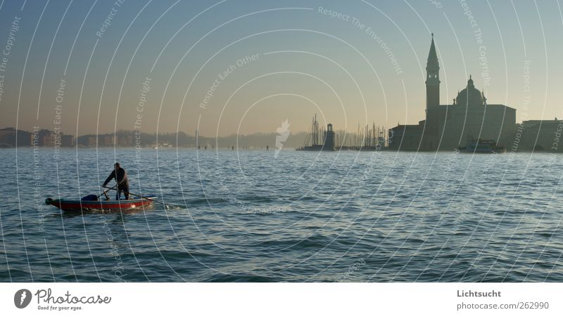 San Giorgio in the morning haze Rowing Vacation & Travel Tourism Watercraft Lagoon Rower Man Adults 1 Human being Cloudless sky Waves Venice