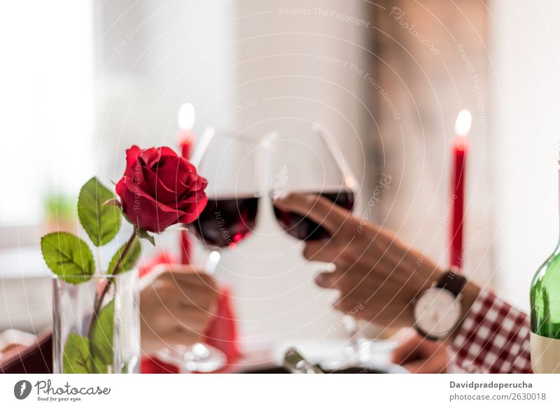Young happy couple celebrating Valentine's day with a dinner at home drinking wine, cheers. Alcoholic drinks Beautiful boyfriend Guest Toast Couple Dinner