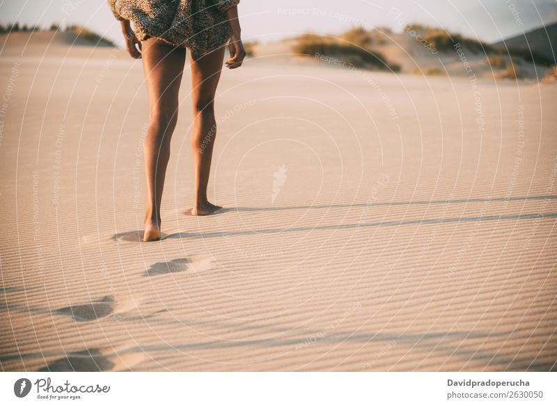 Legs of a young black woman walking in the sand in a desert dunes Beach Sand Walking Woman Human being Isolated romantic Ocean Sun Vacation & Travel Beautiful