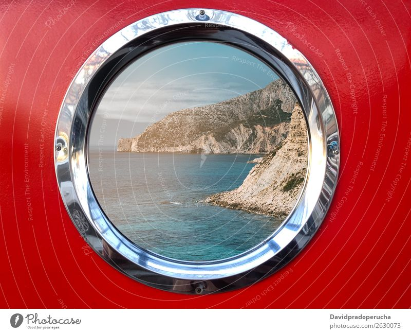 Boat metal window with beautiful view Watercraft Window Vantage point Mountain Porthole Yacht Sailboat