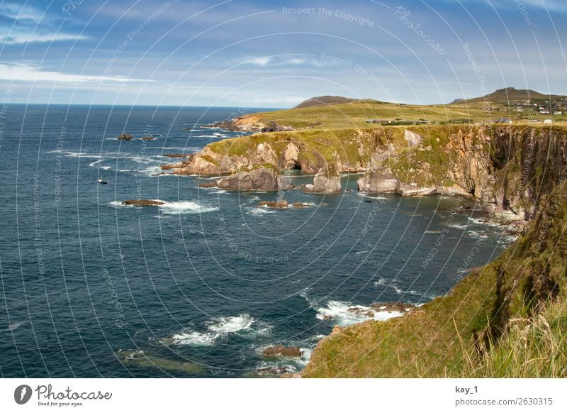 Irish Coast Nature Landscape Water Sky Sun Summer Autumn Beautiful weather Grass Meadow Rock Waves Bay Ocean Dunquin Ireland Europe Far-off places Infinity Wild