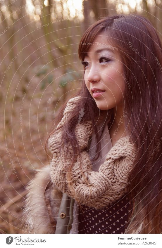 Girl lost in the woods. I Beautiful Feminine Young woman Youth (Young adults) Woman Adults Head 1 Human being 18 - 30 years Nature Earth Winter Black-haired