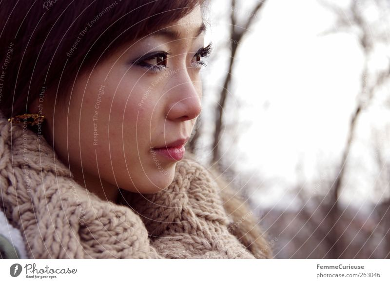 Human being Woman Nature Youth (Young adults) Beautiful Winter Adults Forest Relaxation Far-off places Feminine Mountain Head Think Brown Young woman