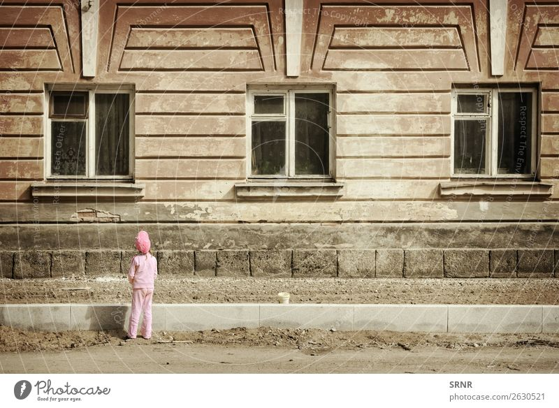 child and house House (Residential Structure) Infancy Building Facade Street Old front Grunge grungy kid window Exterior shot