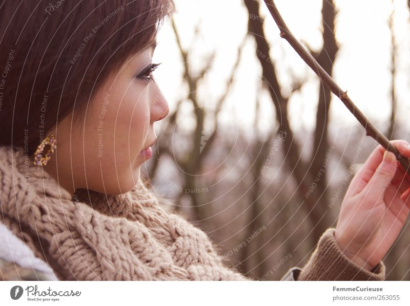 Girl lost in the woods. IV Beautiful Feminine Young woman Youth (Young adults) Woman Adults Head Face 1 Human being 18 - 30 years Nature Winter Tree Style