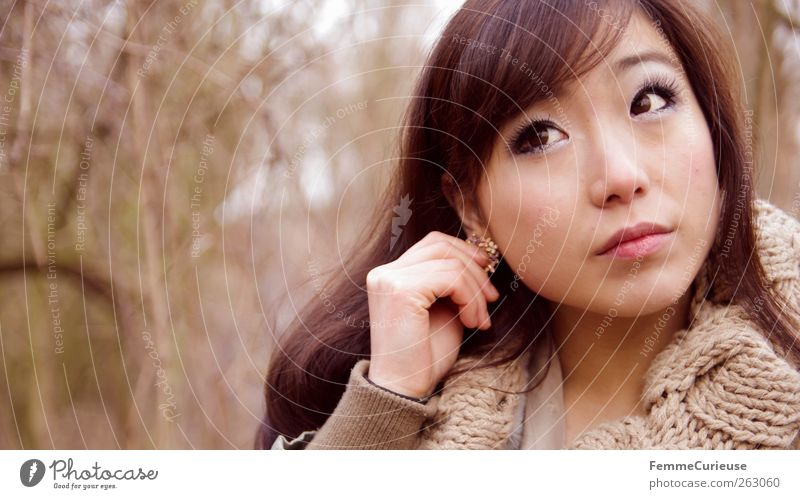 Human being Woman Nature Youth (Young adults) Hand Beautiful Tree Winter Adults Face Forest Relaxation Eyes Feminine Head Brown