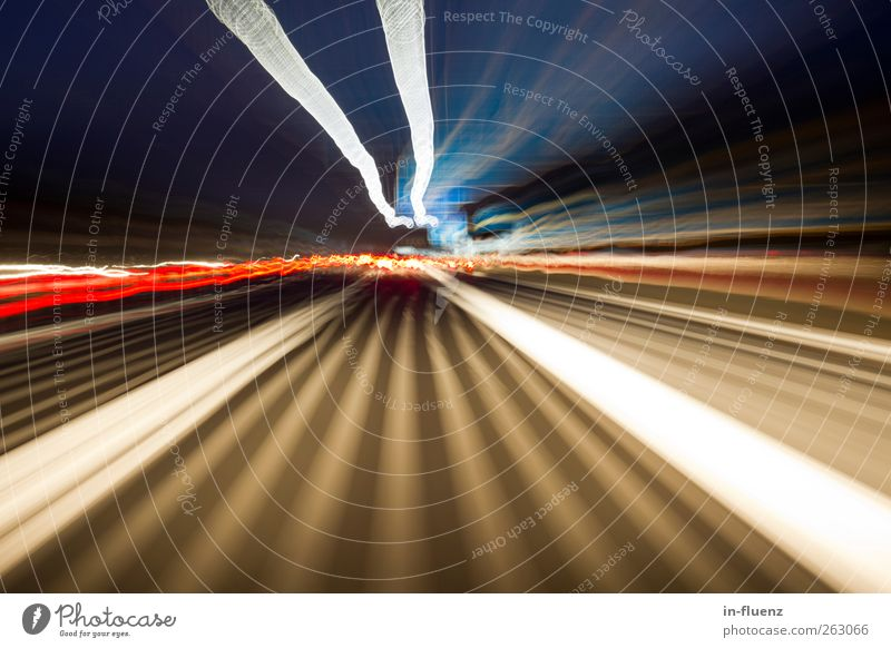 speed Transport Movement Driving Exceptional Blue Yellow Black White Speed Perspective Senses Surrealism colors Night shot structure Coincidence blurred Highway