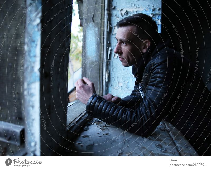 other window other thoughts Masculine Man Adults 1 Human being Ruin Wall (barrier) Wall (building) Window Window board Jacket Brunette Short-haired Observe