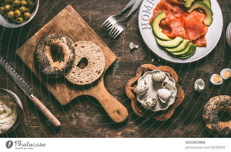Half bagel and sandwich ingredients Food Nutrition Breakfast Crockery Style Design Healthy Eating Living or residing Table Bagel Sandwich Hummus Snack Cooking