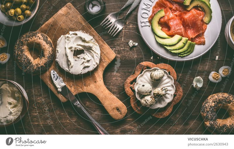 Breakfast with bagel, cream cheese, salmon and avocado Food Fish Cheese Vegetable Nutrition Organic produce Crockery Plate Style Design Healthy Eating