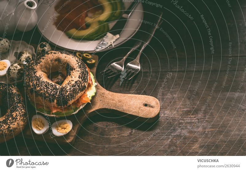 Bagel sandwich at breakfast table Food Nutrition Breakfast Design Healthy Eating Table Sandwich Ingredients Food photograph Colour photo Close-up