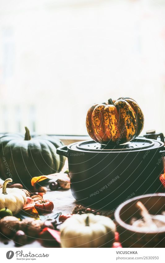 Pot with pumpkins on kitchen table Food Vegetable Nutrition Organic produce Lifestyle Style Healthy Eating Winter Living or residing Kitchen Design
