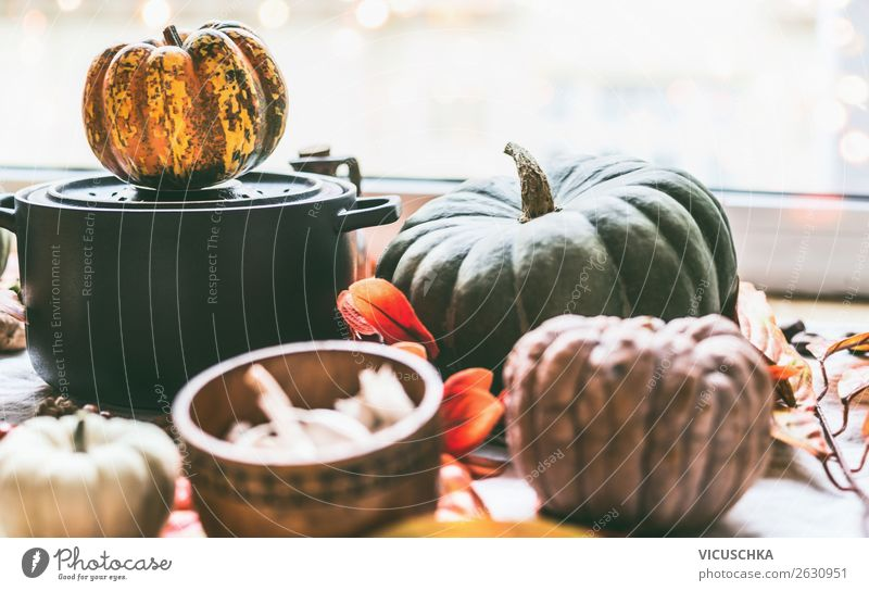 Saucepan and pumpkins on the kitchen table at the window Food Vegetable Nutrition Pot Design Healthy Eating Winter Living or residing Kitchen Autumn