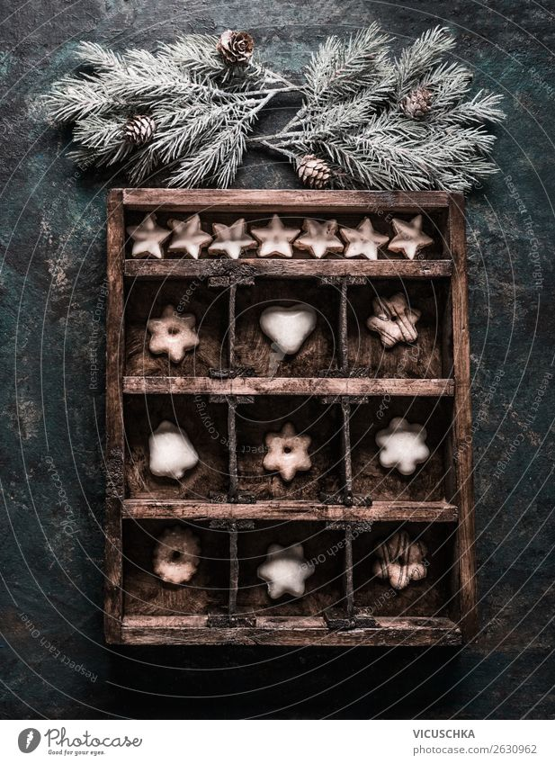 Wooden box with cookies and gingerbread Food Dough Baked goods Candy Nutrition Banquet Shopping Style Design Winter Snow Feasts & Celebrations