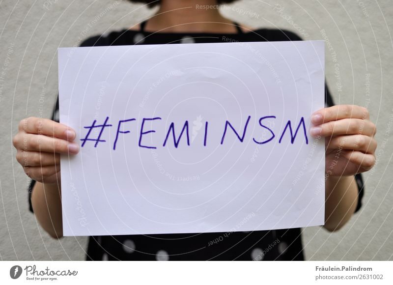 feminism Feminine Young woman Youth (Young adults) Woman Adults Sign Self-confident Power Might Contentment Sex Sexuality Emancipation Equal Internet Shield
