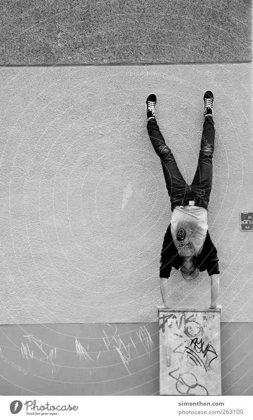 parkour 1 Human being Parkour Power Handstand Wall (building) Crazy Retentive Effort Black & white photo Balance Exceptional Hold Full-length Support