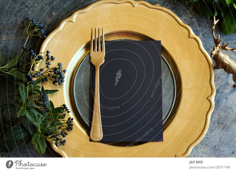 Gold place setting with empty menu on grunge Food Dinner Plate Fork Winter Decoration Table Restaurant Feasts & Celebrations Easter Thanksgiving