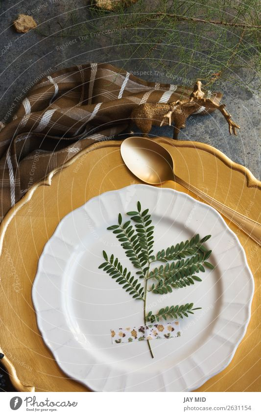 Holiday Gold place setting napkin brown plaid grunge background Dinner Plate Winter Decoration Table Restaurant Thanksgiving Christmas & Advent New Year's Eve