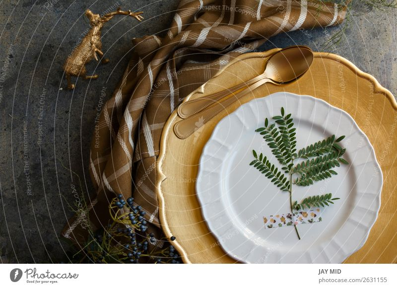 Holiday Gold place setting, napkin brown plaid Dinner Plate Winter Decoration Table Restaurant Feasts & Celebrations Thanksgiving Christmas & Advent