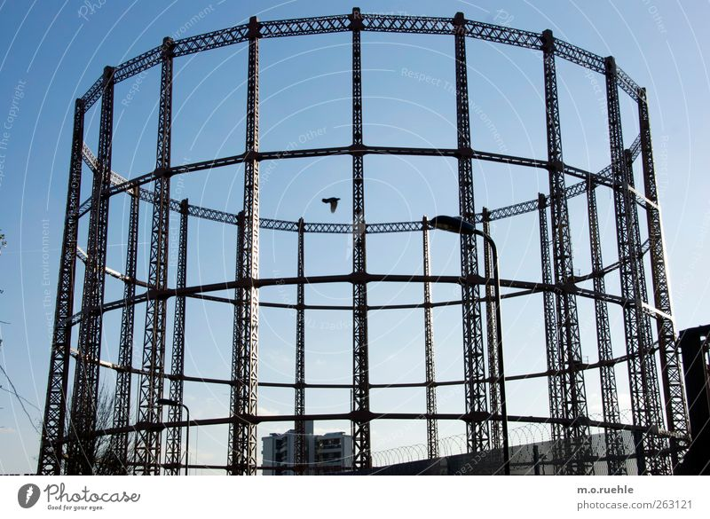 circular linkage London England Capital city Outskirts Gasometer Old Historic Retro Town Moody Secrecy Longing Loneliness Decline Past Transience Bird