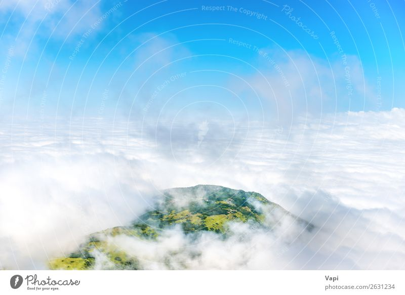 Green mountain peak in white clouds Vacation & Travel Tourism Adventure Far-off places Mountain Climbing Mountaineering Nature Landscape Sky Clouds Fog Grass