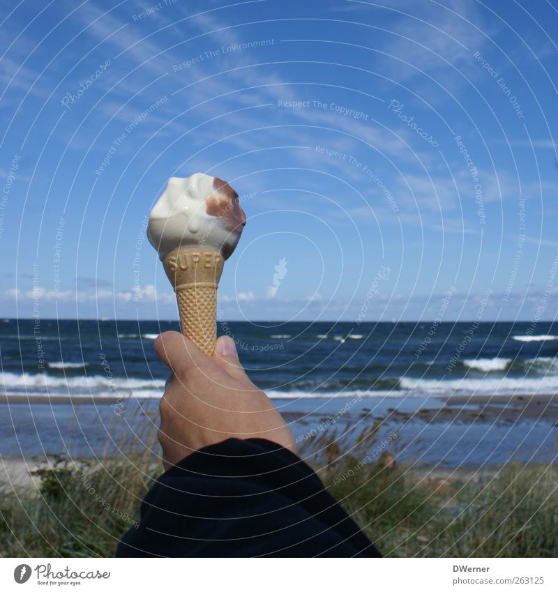 ice Food Ice cream Nutrition Picnic Happy Well-being Relaxation Vacation & Travel Tourism Far-off places Summer Beach Ocean Waves Hand Nature Landscape