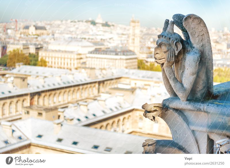 Gargoyle statue on Notre Dame de Paris Sky Vacation & Travel Old Summer Blue Town Landscape White House (Residential Structure) Far-off places Street