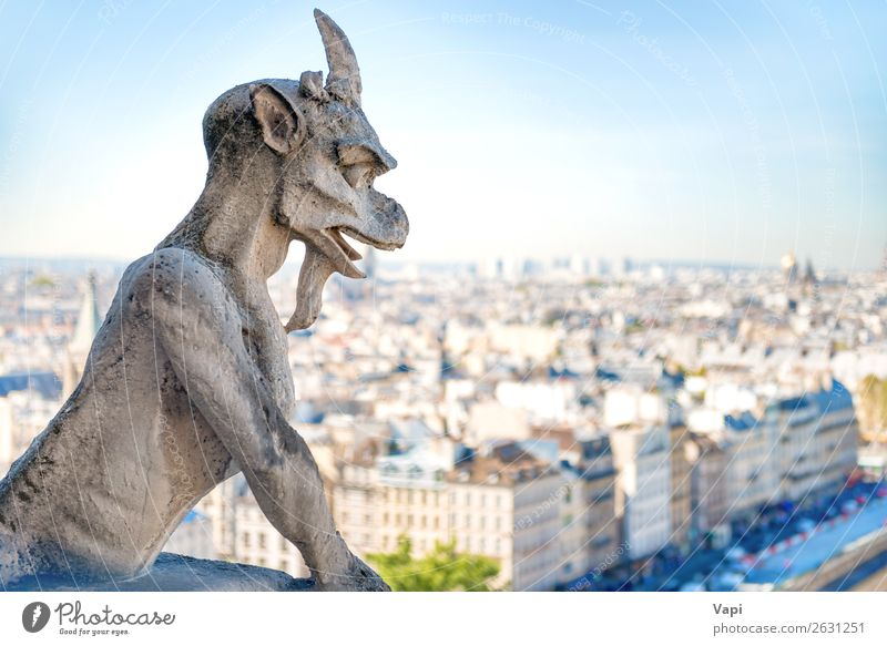 Gargoyle statue on Notre Dame de Paris Sky Vacation & Travel Old Summer Blue Town White House (Residential Structure) Far-off places Street Architecture