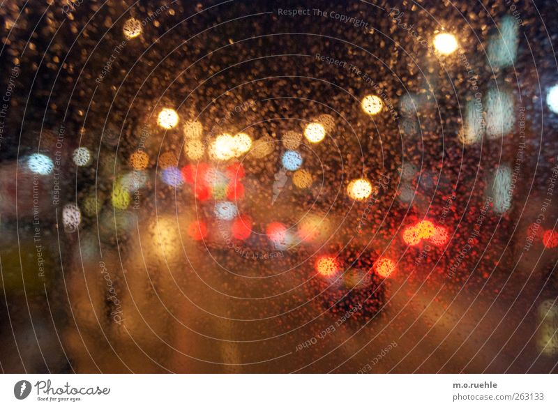 City Red Street Car Moody Rain Transport Drops of water Lifestyle Vehicle Motoring Surrealism Road traffic Bad weather Means of transport Bus travel