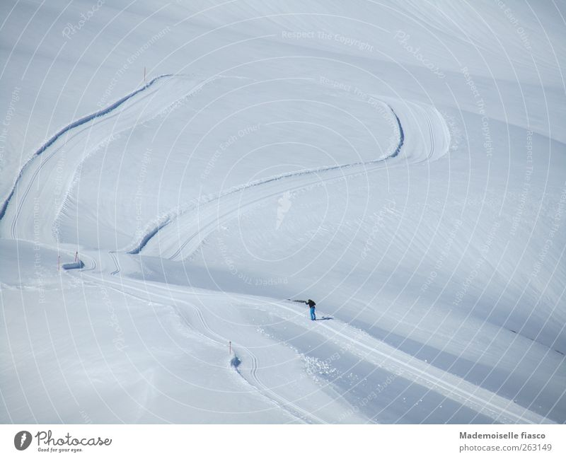 Human being Blue White Winter Loneliness Calm Snow Sports Mountain Freedom Movement Power Hiking Trip Skiing