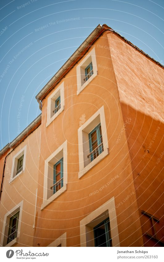 Narbonne XVII Southern France Small Town House (Residential Structure) Manmade structures Building Architecture Facade Window Old Poverty Esthetic Orange Blue