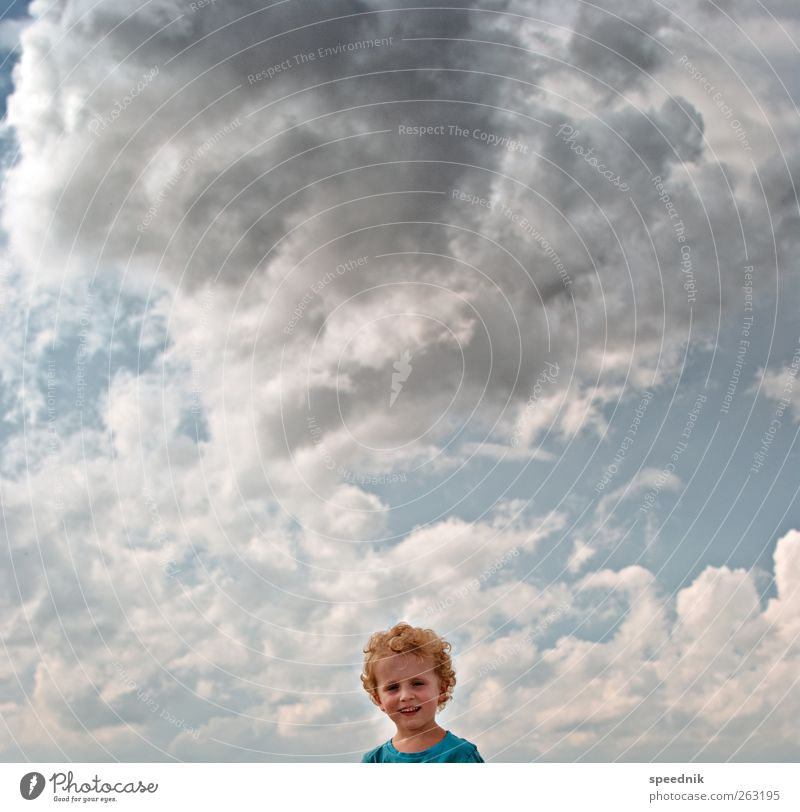 Human being Child Sky Blue Summer Clouds Far-off places Boy (child) Freedom Warmth Head Infancy Blonde Climate Masculine Esthetic