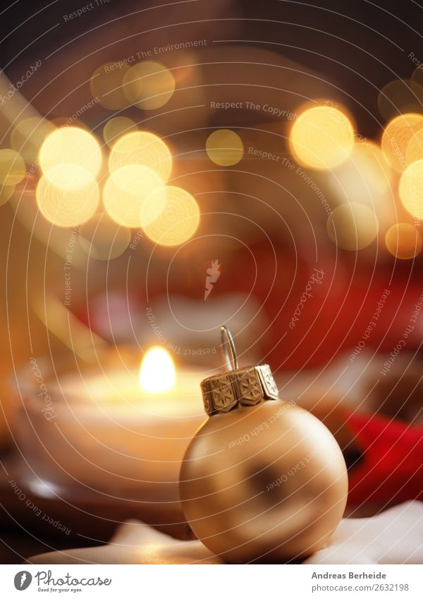 Golden Christmas tree ball Winter Decoration Feasts & Celebrations Christmas & Advent Candle Yellow Peace Religion and faith Tradition Background picture