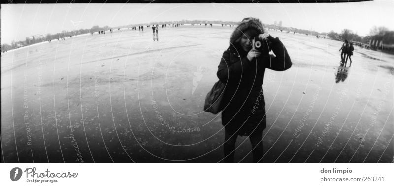 Human being White Winter Black Cold Moody Ice Frost Young woman River Camera Frozen Analog Photographer Take a photo